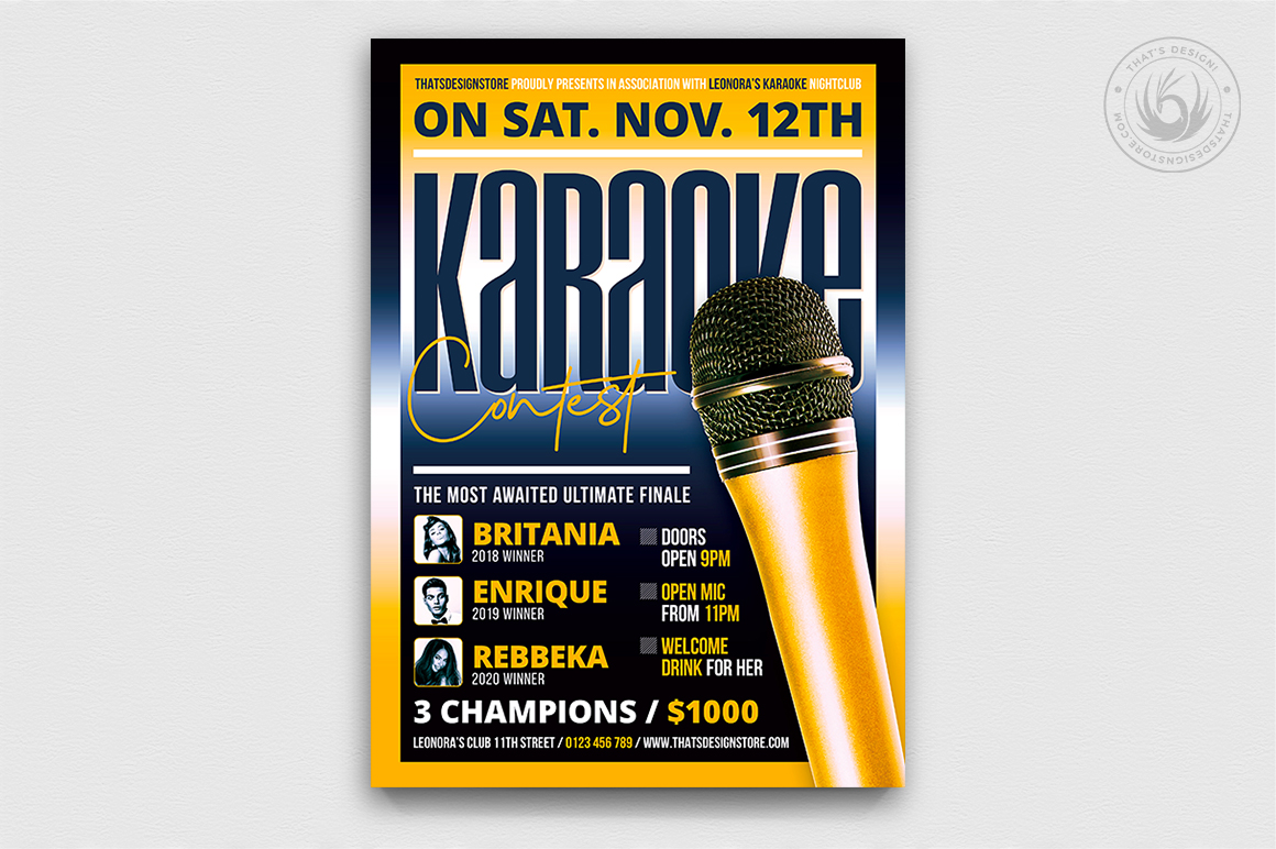 Download Free Karaoke Flyer Template V9 Graphic By Thatsdesignstore Creative for Cricut Explore, Silhouette and other cutting machines.
