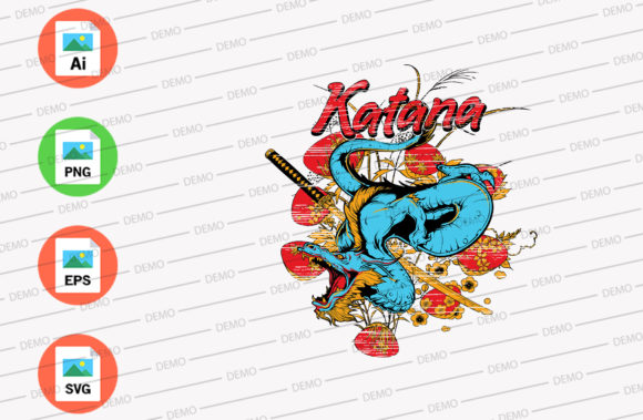 Katana Dragon with Sword Graphic Illustrations By Skull and Rose