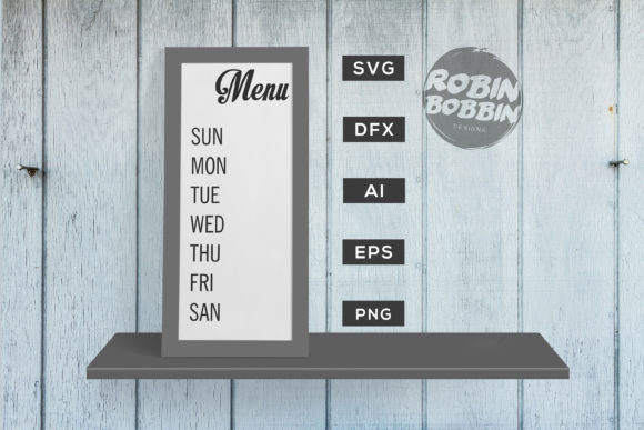 Kitchen Weekly Menu Graphic By RobinBobbinDesign