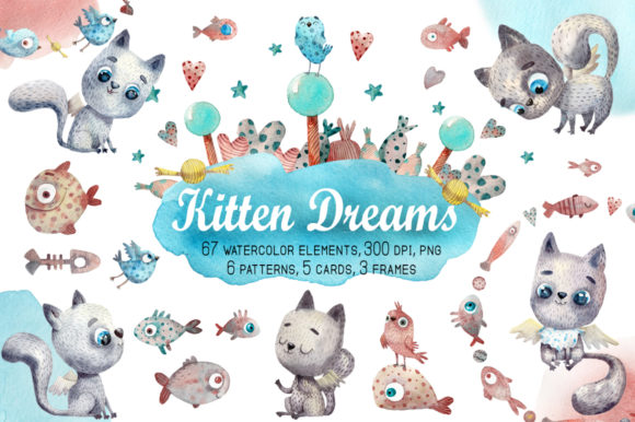 Kitten Dreams Watercolor Clip Art Set Graphic Illustrations By mashamashastu