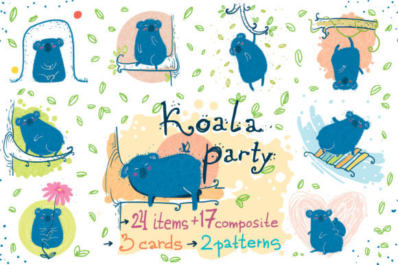 Print on Demand: Koala Party Sticker Pack Grafik Objekte von Zooza Art