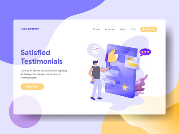 Landing Page Satisfied Testimonials Graphic By Twiri Image 1