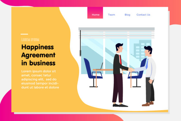 Landing Page with Agreement Partner Business Graphic By Griyocreative Image 1