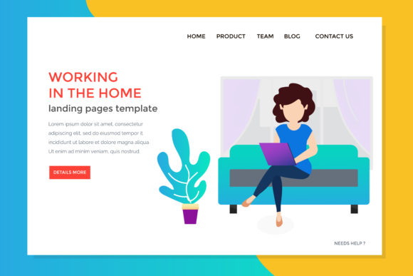 Download Free Landing Page With Woman Monitoring Work At Home Grafico Por for Cricut Explore, Silhouette and other cutting machines.