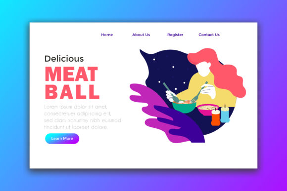 Landing Page Woman Eating Noddle and Meatball Graphic Landing Page Templates By Griyocreative