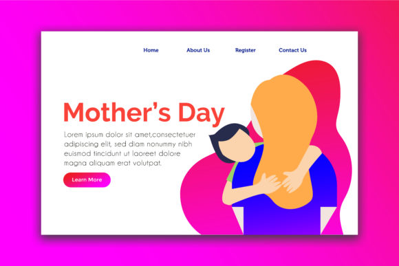 Download Free Landing Page For Mother S Day Graphic By Griyolabs Creative for Cricut Explore, Silhouette and other cutting machines.