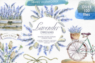 Lavender Watercolor Clipart Set Graphic By dinkoobraz