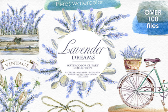 Print on Demand: Lavender Watercolor Clipart Set Graphic Illustrations By dinkoobraz