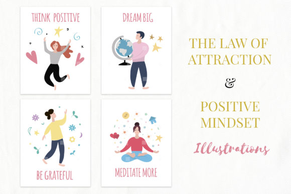 Law of Attraction and Positive Mindset Concepts Graphic Illustrations By switzershop
