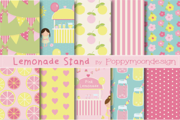 Print on Demand: Lemonade Stand Papers Graphic Patterns By poppymoondesign