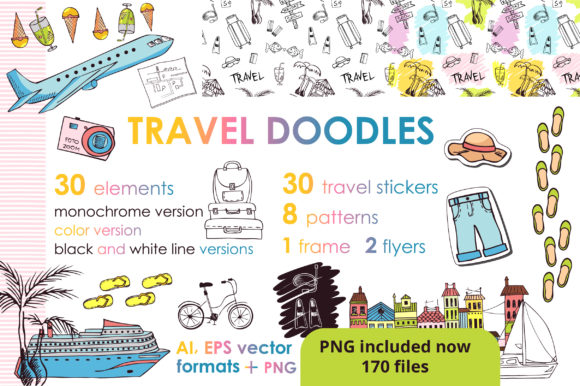 Print on Demand: Let's Travel Doodles Big Set Graphic Objects By KatiaZhe