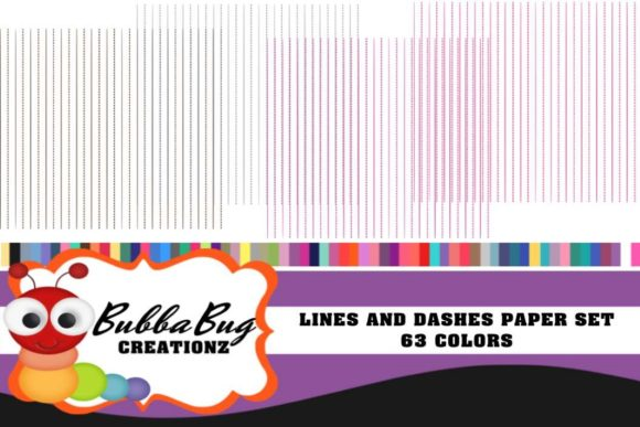 Lines and Dashes Paper Set Graphic Patterns By BUBBABUG