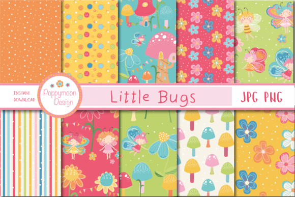 Print on Demand: Little Bugs Paper Gráfico Moldes Por poppymoondesign
