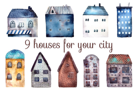 Download Free Little Town Watercolor Clip Art Set Graphic By Mashamashastu SVG Cut Files