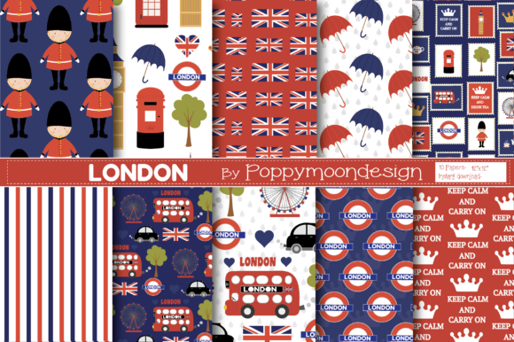 Print on Demand: London Papers Graphic Patterns By poppymoondesign