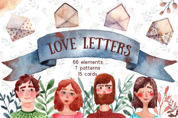 Love Letters - Watercolor Clip Art Set Graphic Illustrations By mashamashastu