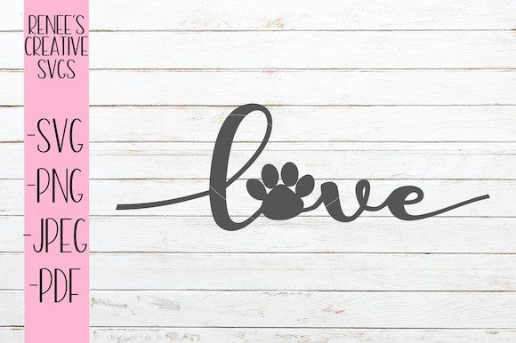 Download Free Love With Paw Print Graphic By Reneescreativesvgs Creative Fabrica for Cricut Explore, Silhouette and other cutting machines.