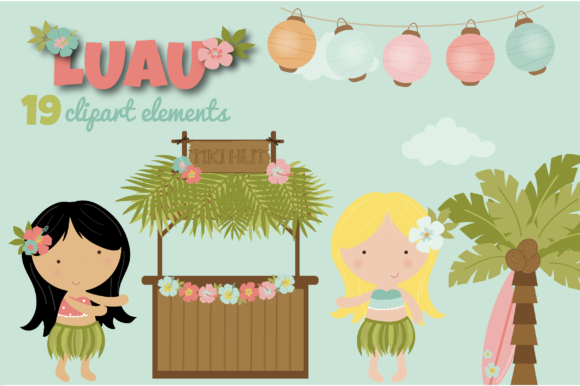 Print on Demand: Luau Clipart Graphic Illustrations By poppymoondesign