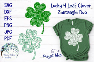 Download Free Lucky Four Leaf Clover Zentangle Mandala Graphic By for Cricut Explore, Silhouette and other cutting machines.