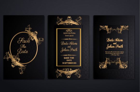 Download Free Luxury Wedding Invitation Set Graphic By Imammuslim835 for Cricut Explore, Silhouette and other cutting machines.