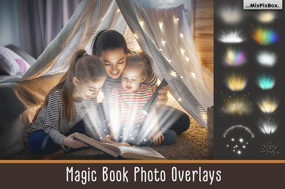 Print on Demand: Magic Book Light Photo Overlays Graphic Layer Styles By MixPixBox