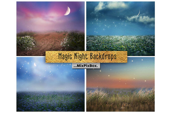 Print on Demand: Magic Night Backdrop Graphic Layer Styles By MixPixBox