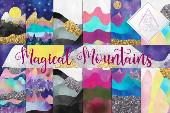 Print on Demand: Magical Mountains Digital Paper Graphic Textures By fantasycliparts