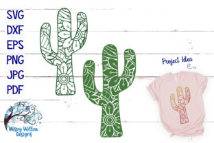 Download Free Mandala Cactus Bundle Zentangle Graphic By Wispywillowdesigns for Cricut Explore, Silhouette and other cutting machines.