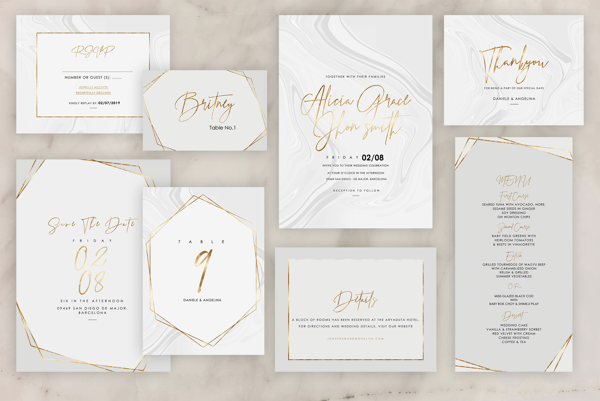 Download Free Marble Wedding Invitation Graphic By Creative Paper Creative for Cricut Explore, Silhouette and other cutting machines.