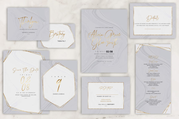 Marble Wedding Invitations Graphic By artisssticcc Image 4