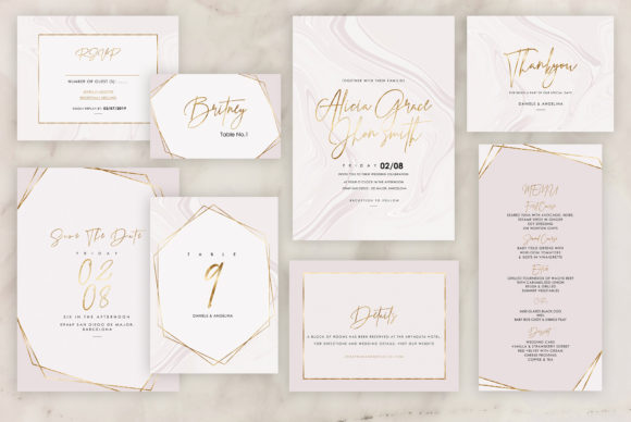 Marble Wedding Invitations Graphic By artisssticcc Image 6