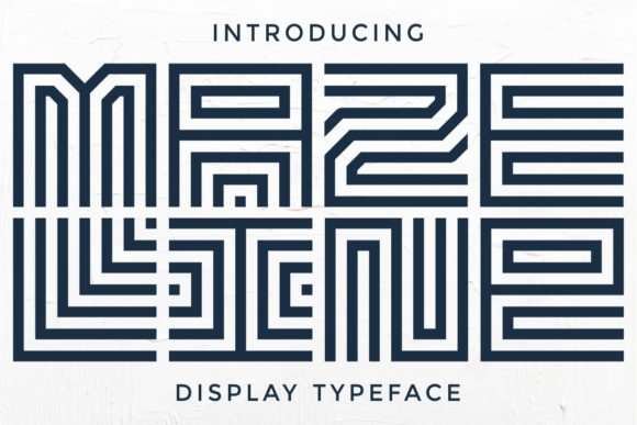 Print on Demand: Maze Line Display Font By putracetol