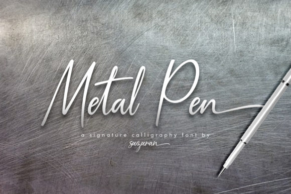 Print on Demand: Metal Pen Script Script & Handwritten Font By suzurantype