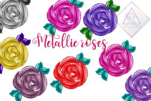 Metallic Roses Clipart Graphic By fantasycliparts