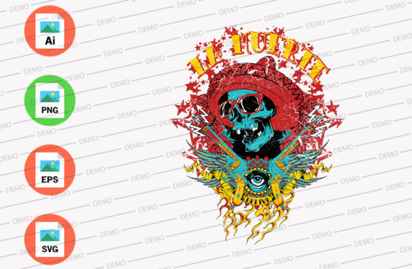 Mexican Skull Graphic Illustrations By Skull and Rose