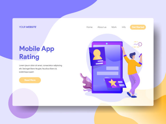 Mobile App Rating Graphic Landing Page Templates By Twiri