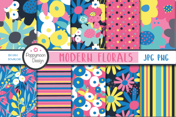 Print on Demand: Modern Florals Graphic Patterns By poppymoondesign