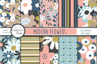 Print on Demand: Modern Flower Papers Graphic Patterns By poppymoondesign