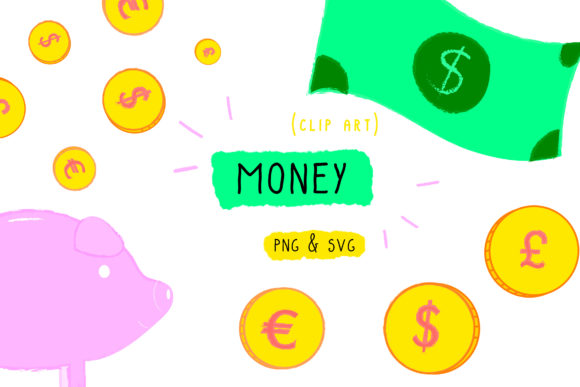 Download Free Money Clip Art Coins Dollar Graphic By Inkclouddesign Creative for Cricut Explore, Silhouette and other cutting machines.