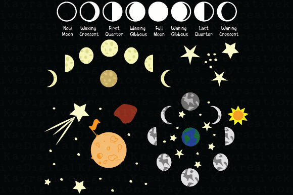 Moon Phases SVG Graphic Crafts By Kayla Griffin