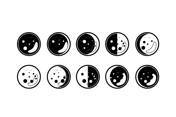 Download Free Moon Phases Svg Cut File By Creative Fabrica Crafts Creative for Cricut Explore, Silhouette and other cutting machines.
