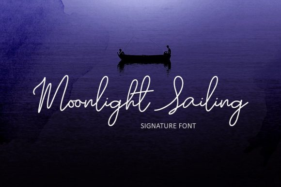 Moonlight Sailing Script Script & Handwritten Font By Creativeqube Design