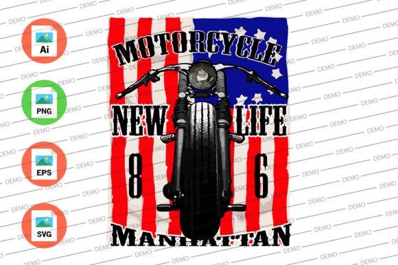 Motorcycle New Life Manhattan Graphic Illustrations By Skull and Rose - Image 3