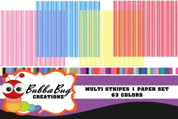 Multi Stripes Paper Set Graphic Patterns By BUBBABUG