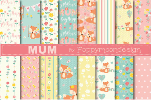 Print on Demand: Mum Foxes Paper Graphic Patterns By poppymoondesign