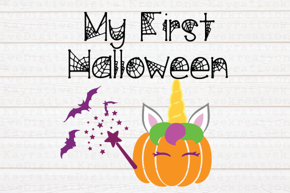 Download Free My First Halloween Unicorn Fairy Pumpkin Svg Graphic By Kayla Griffin Creative Fabrica for Cricut Explore, Silhouette and other cutting machines.