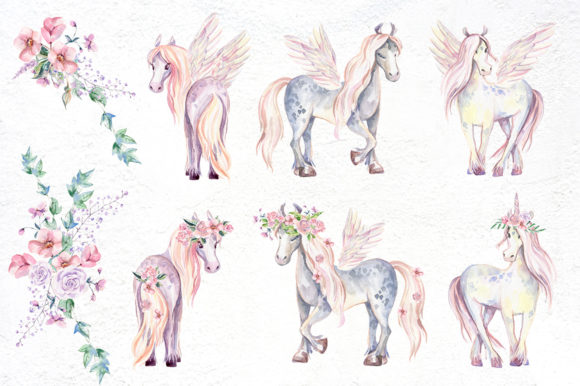 My Magic Pony Watercolor Graphic Kit Graphic Illustrations By dinkoobraz - Image 13