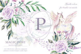 Print on Demand: My Magic Pony Watercolor Graphic Kit Graphic Illustrations By dinkoobraz