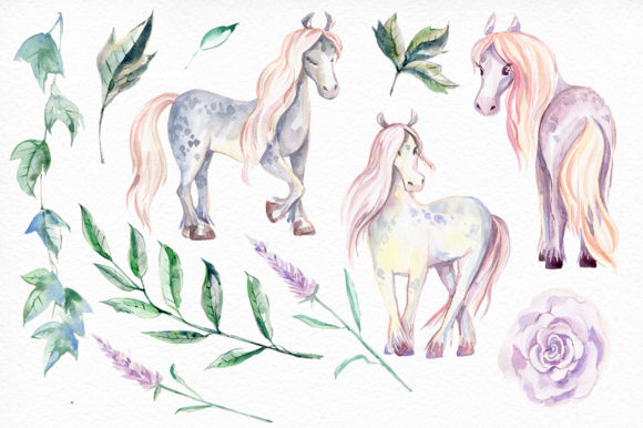 My Magic Pony Watercolor Graphic Kit Graphic Illustrations By dinkoobraz - Image 6
