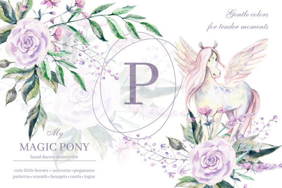My Magic Pony Watercolor Graphic Kit Graphic Illustrations By dinkoobraz